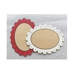 Deko-Holzrähmchen rot mit Blumenrand - mittel, oval