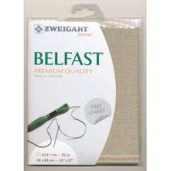 Zweigart Belfast rohleinen/goldlurex, Precut 48x68 cm