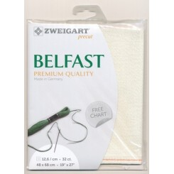 Zweigart Belfast weiß/lurex, Precut 48x68 cm