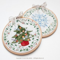 TREE & FLAKE CHRISTMAS HOOPS