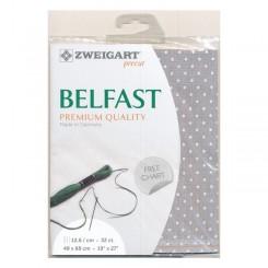 Zweigart Belfast Petit Point grau, weiß gepunktet, 48x68 cm