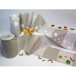 """Leinenband """"Blätterdruck"""", quergestreift - 20 cm breit"""