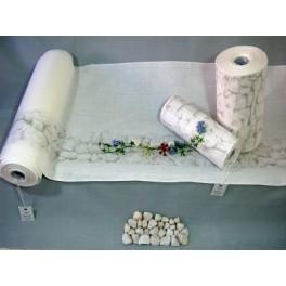 "Leinenband mit Aquarelldruck ""Trockenmauer"", 26 cm breit - 125 cm lang"