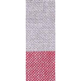 Leinenband gestreift natur/dunkelrot - 12 cm breit