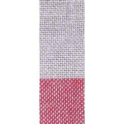 Leinenband gestreift natur/dunkelrot - 26 cm breit