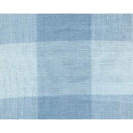 Leinenband großkariert, hellblau - 34 cm breit