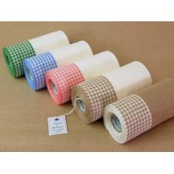 Leinenband gestreift weiß/1/3 kariert - 17 cm breit