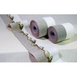 Leinenband gestreift, natur/hellweiß - 12 cm breit