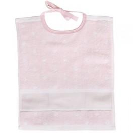 Lätzchen rosa-weiß - 30 x 34 cm