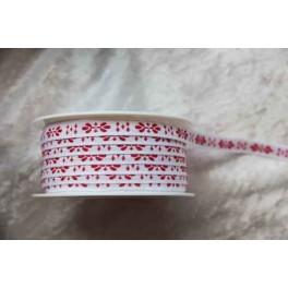 "Webband ""Ornament"", weiß-rot"